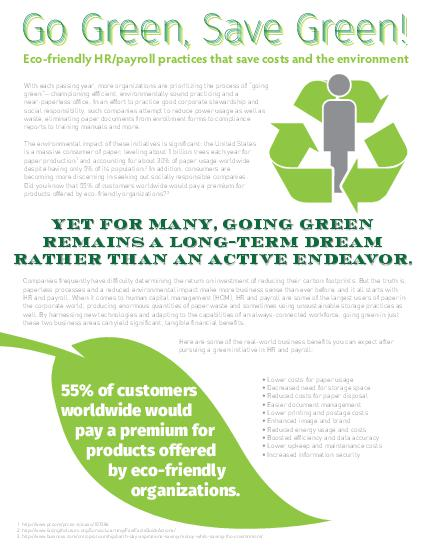 Go Green, Save Green for HR