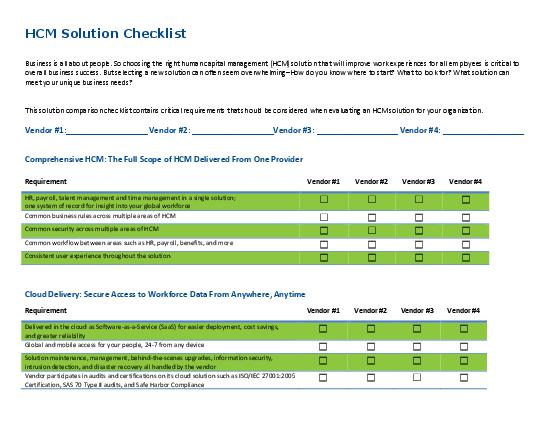 HCM Solution Provider Comparison Checklist