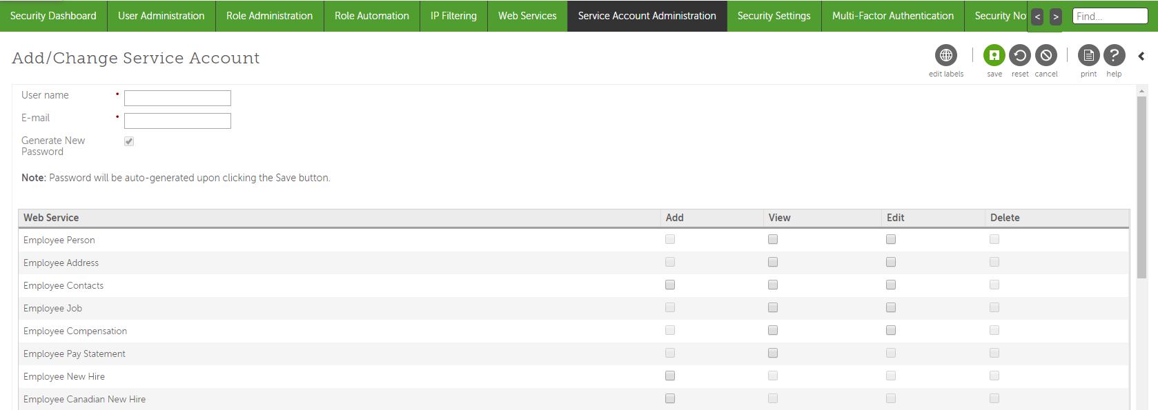 Add a Service Account
